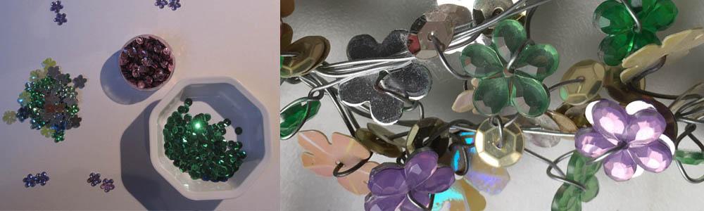 filigraner Fensterschmuck aus Draht und Glasperlen