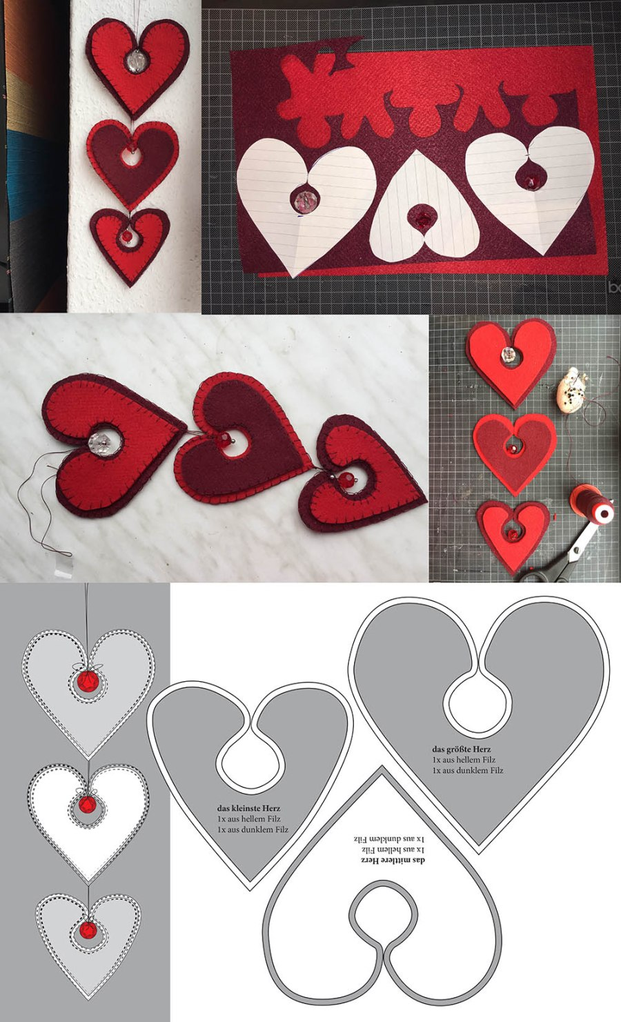 Wanddekoration aBasteln mit Filz, Dekoration für den Valentinstag, einfache DIY-Projekte aus Filz, Basteln für den Valentinstag, Herzen aus Filz basteln, nähen mit dickem Filz, nähen mit der Hand, ohne Nähmaschine nähen, mit der Hand nähen, handwerklich nähen, Knopflochstich nähen, wie geht der Knopflochstich, Stoffkanten mit der Hand versäubern, Säume sichern ohne Nähmaschine Overlockmaschine, saubere Stoffkanten ohne Overlocknähmaschine, kostenlose Anleitung mit Druckvorlage für Valentinstagus Filzherzen und großen Kristallen