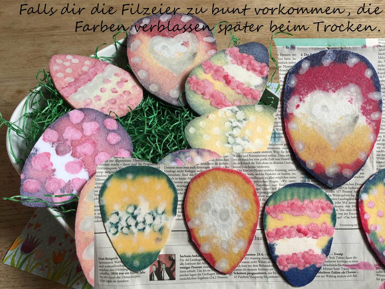 Basteln mit Kindern, Osterdekoration selber machen, Ostereier aus Filz mit Wachs und Ostereierfarbe faerben