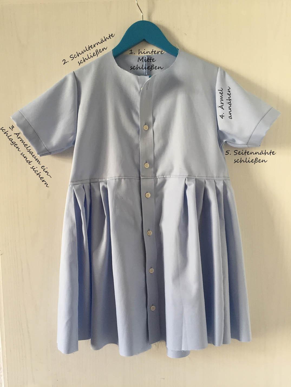 ein Kinderkleid ohne Schnittmuster nähen, ein Kinderkleid aus einem Herrenhemd nähen
