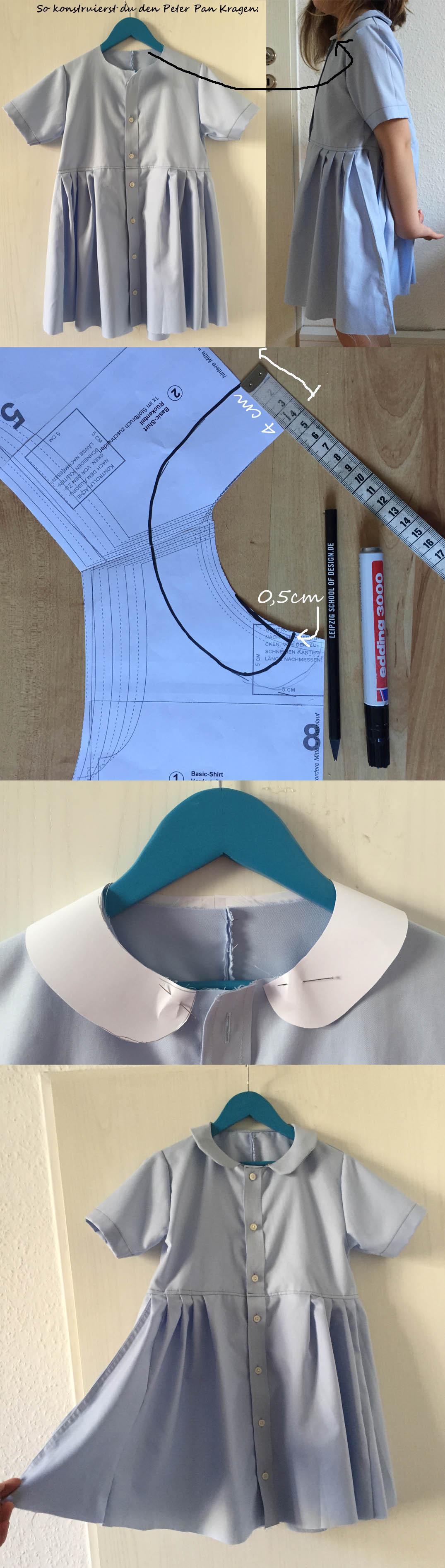 einen Kragen für ein Kinderkleid konstruieren, ein einfaches Kinderkleid ohne Schnittmuster nähen
