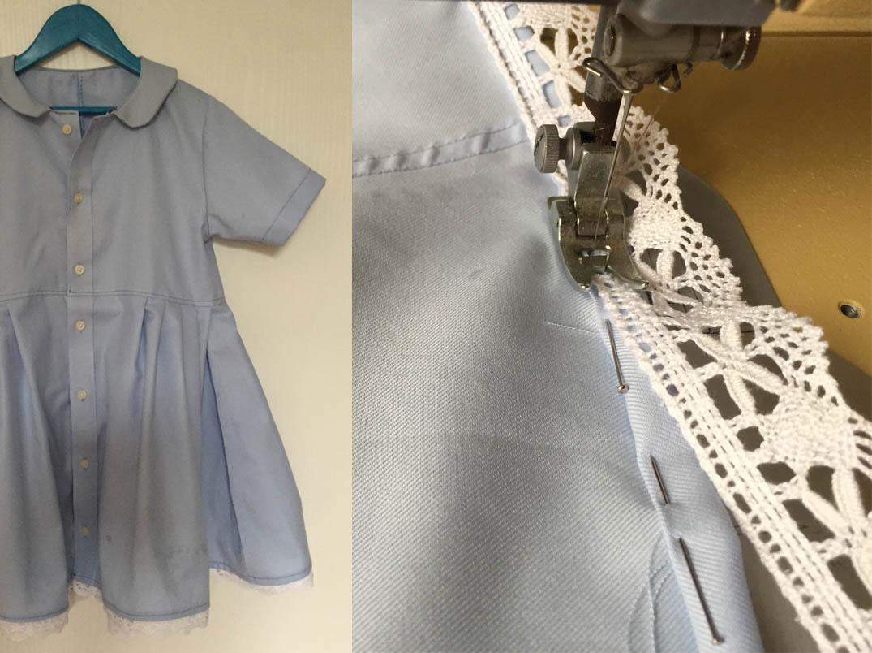 ein Kinderklkeid ohne Schnittmuster nähen, aus einem Herrenhemd ein einfaches Kinderkleid nähen