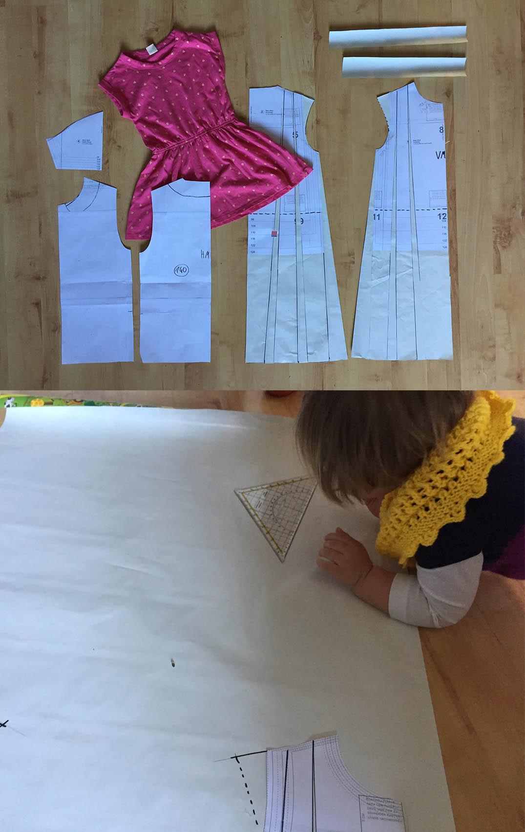 einen einfachen Kleiderschnitt selber machen, ein Schnittmuster für ein Sommerkleid konstruieren