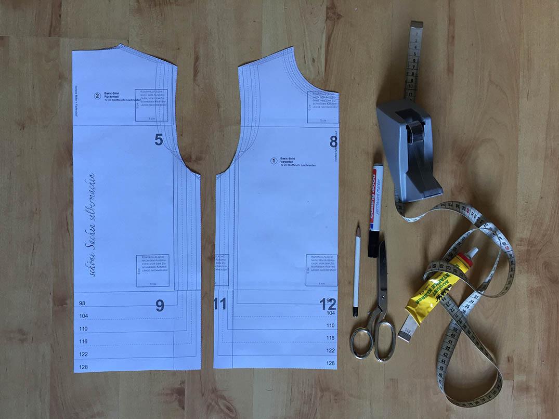ein Schnittmuster für ein Sommerkleid konstruieren