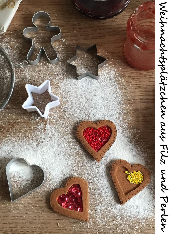 Basteln mit Filz, Dekoration für Weihnachten, einfache DIY-Projekte für Weihnachten, für Weihnachten basteln, Kekse und Plätzchen aus Filz basteln, nähen für die Kinderküche, nähen mit der Hand, ohne Nähmaschine nähen, mit der Hand nähen, handwerklich nähen, Knopflochstich, Stoffkanten mit der Hand versäubern, Säume sichern ohne Nähmaschine Overlock Nähmaschine, saubere Stoffkanten ohne Overlockmaschine, kostenlose Anleitung mit Druckvorlage für Weihnachten