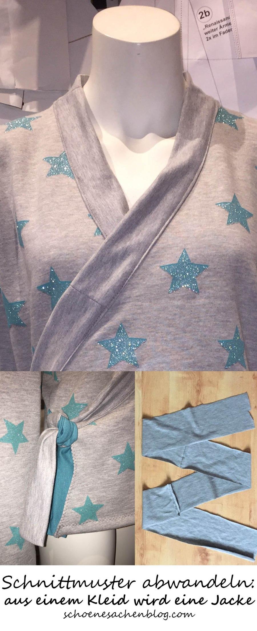 Ein Schnittmuster für ein Kleid abwandeln, aus einem Schnittmuster für ein Kleid einen Jackenschnitt machen, Schnittmuster ändern für Anfänger, einfache Änderungen an Schnittmustern, ein Schnittmuster für eine Wickeljacke zeichnen, kostenlose Anleitung Wickeljacke, kostenloses Schnittmuster für Jacke, Wickeljacke nähen, Ausschnitt mit Jerseystreifen einfassen, Stoffkanten mit Stoffstreifen einfassen, Bindeband für Wickelkleid annähen, einfaches Wickelkleid nähen,